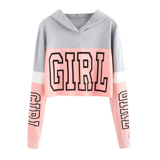 Sweatshirt Crop Top Long Girl Sweatshirt