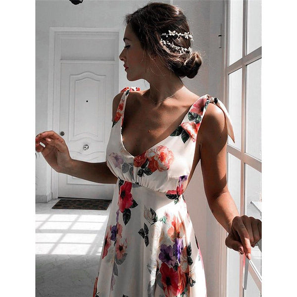 Floral Sleeveless & Backless Vintage Long Boho Dress