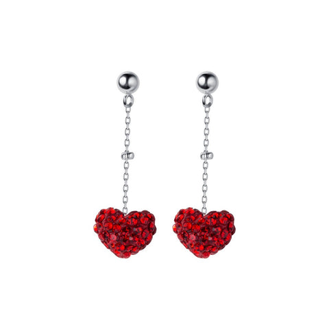 Silver Full Diamond Heart  Earrings