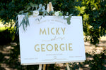Wedding welcome sign, gold and white