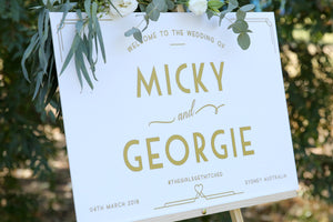 Welcome to our wedding sign, white and gold