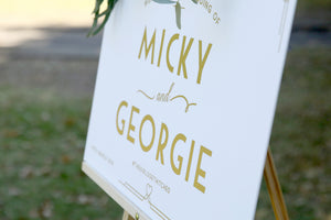 Customise your wedding sign - welcome sign gold and white