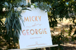 Wedding names sign on easel