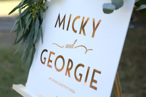 Rose gold and white sign for wedding