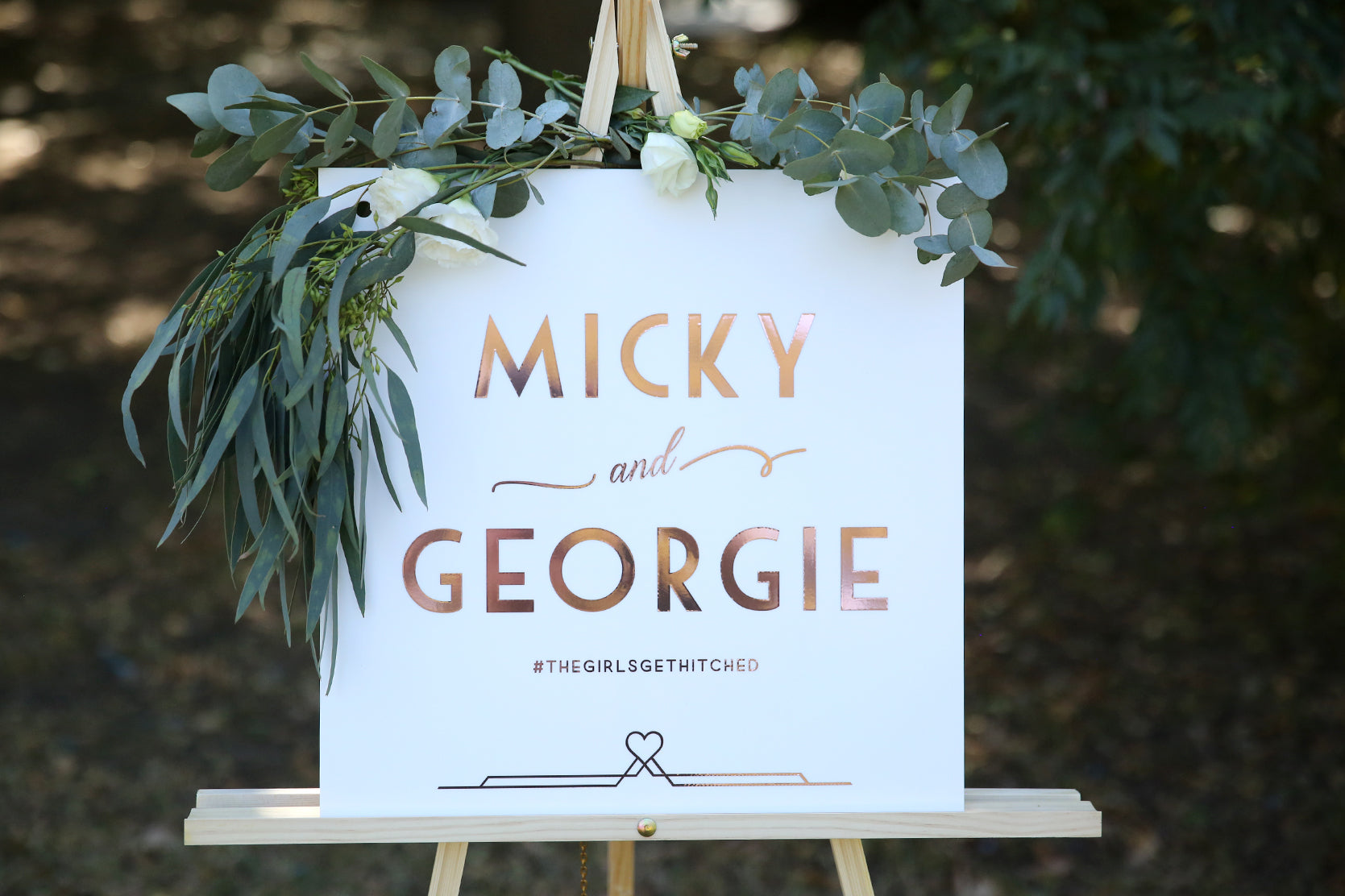 Personalised wedding sign, white and rose gold