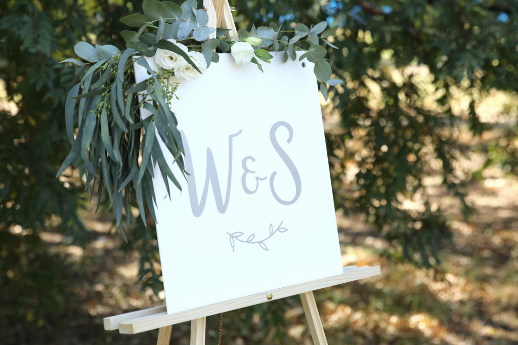 Wedding monogram sign, white and silver