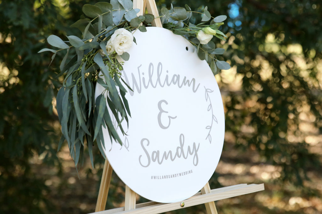 Scripted wedding sign - first names