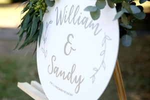 Simple scripted wedding sign - names