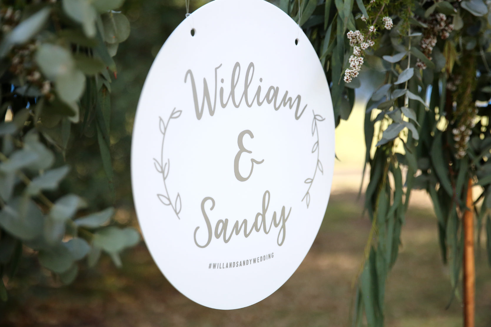 White and silver boho style hanging wedding sign