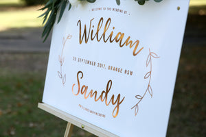 Rose gold and white boho wedding sign
