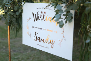 Boho style wedding sign, hanging on copper frame