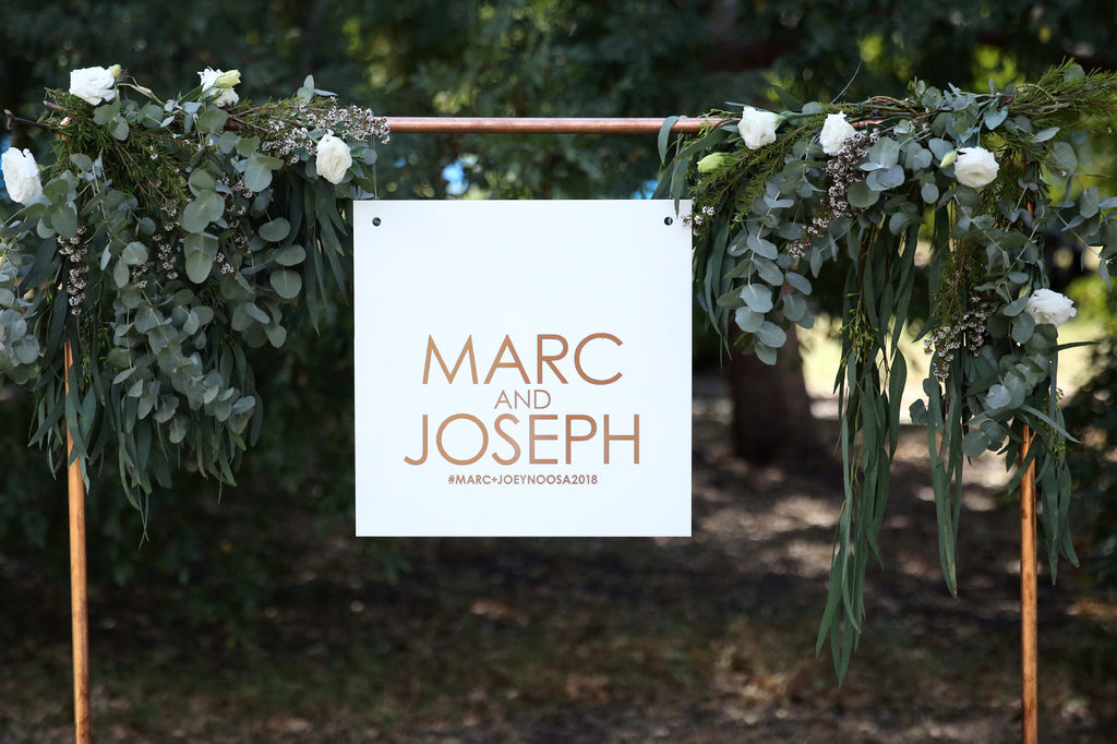 Same sex wedding sign - first names