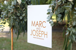 Custom wedding sign hanging - rose gold and white