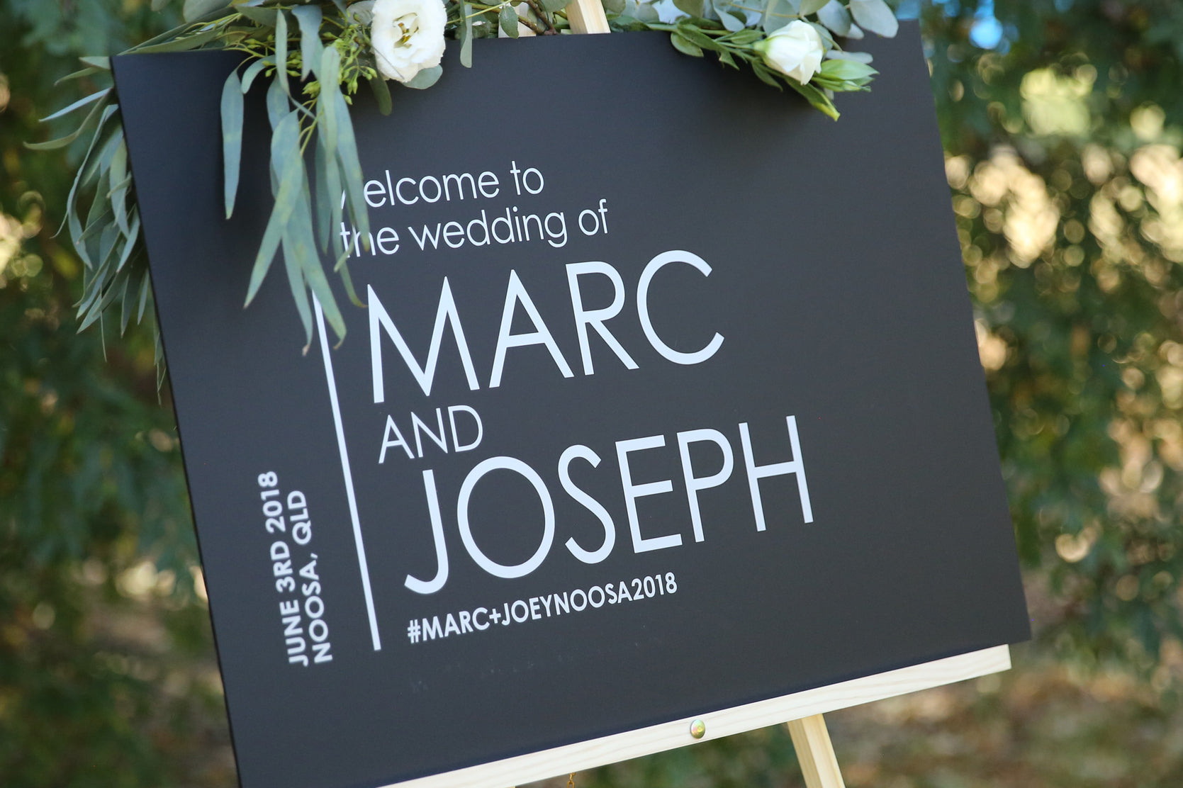 Black an Silver, wedding sign - welcome to our wedding