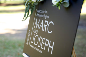 Welcome wedding sign, black and silver