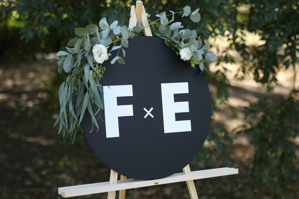 Statement monogram wedding sign, monochrome