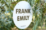 First names wedding sign, black and frosted