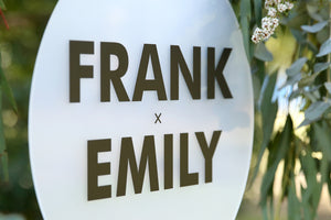 Close up of black and frosted wedding names signage