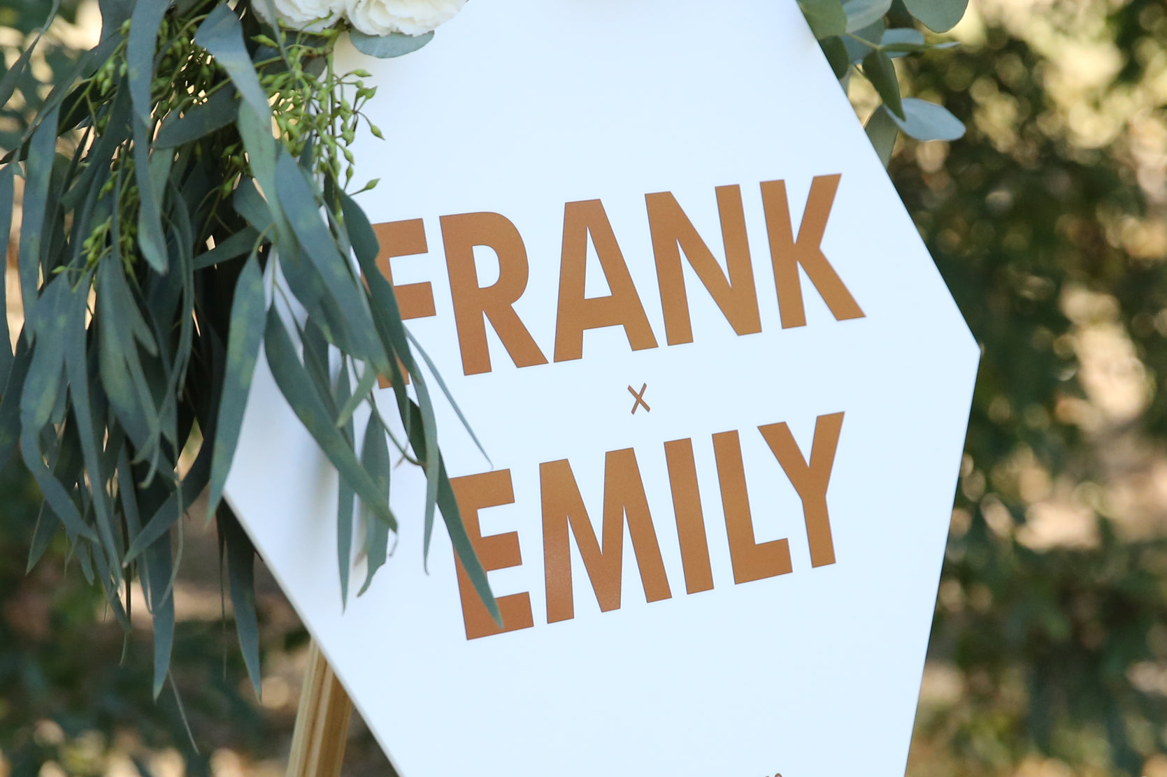 Bold and modern wedding sign, rose gold and white