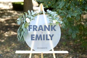 Circular wedding names sign on easel - choose your shape