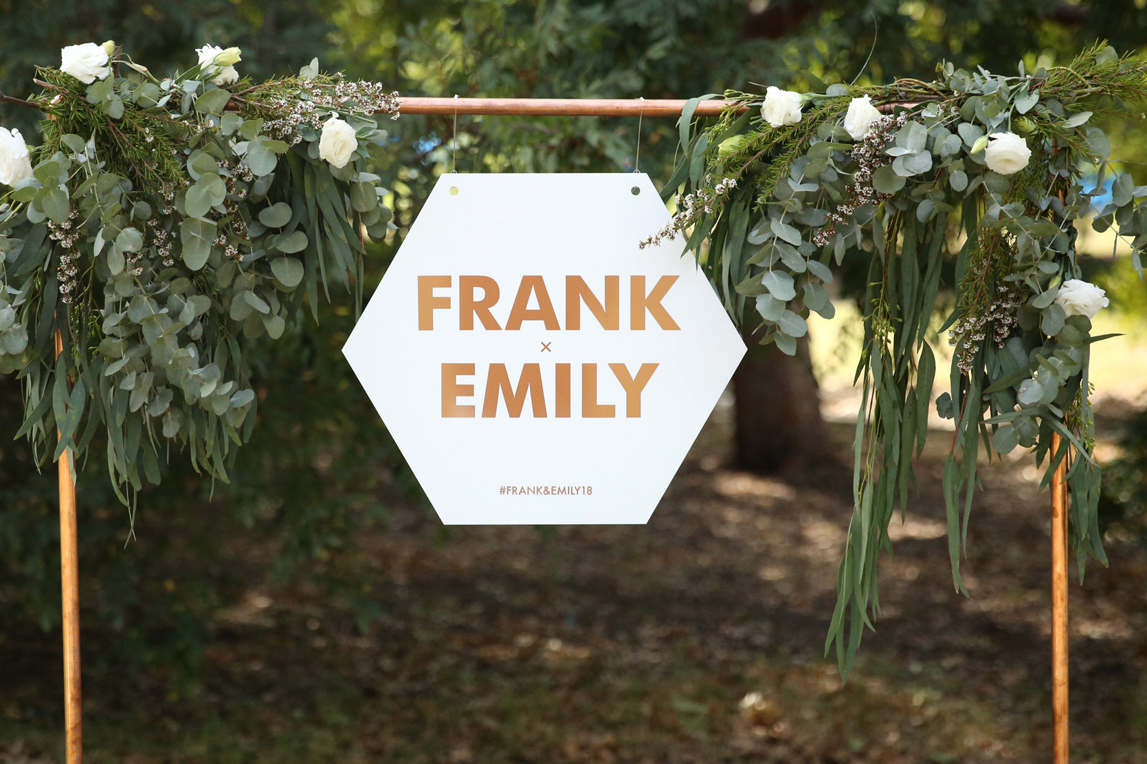 Hexagon wedding sign, rose gold and white hanging
