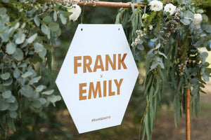 Hexagonal wedding name sign, rose gold and white