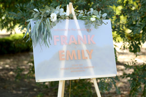 Welcome wedding sign, on easel