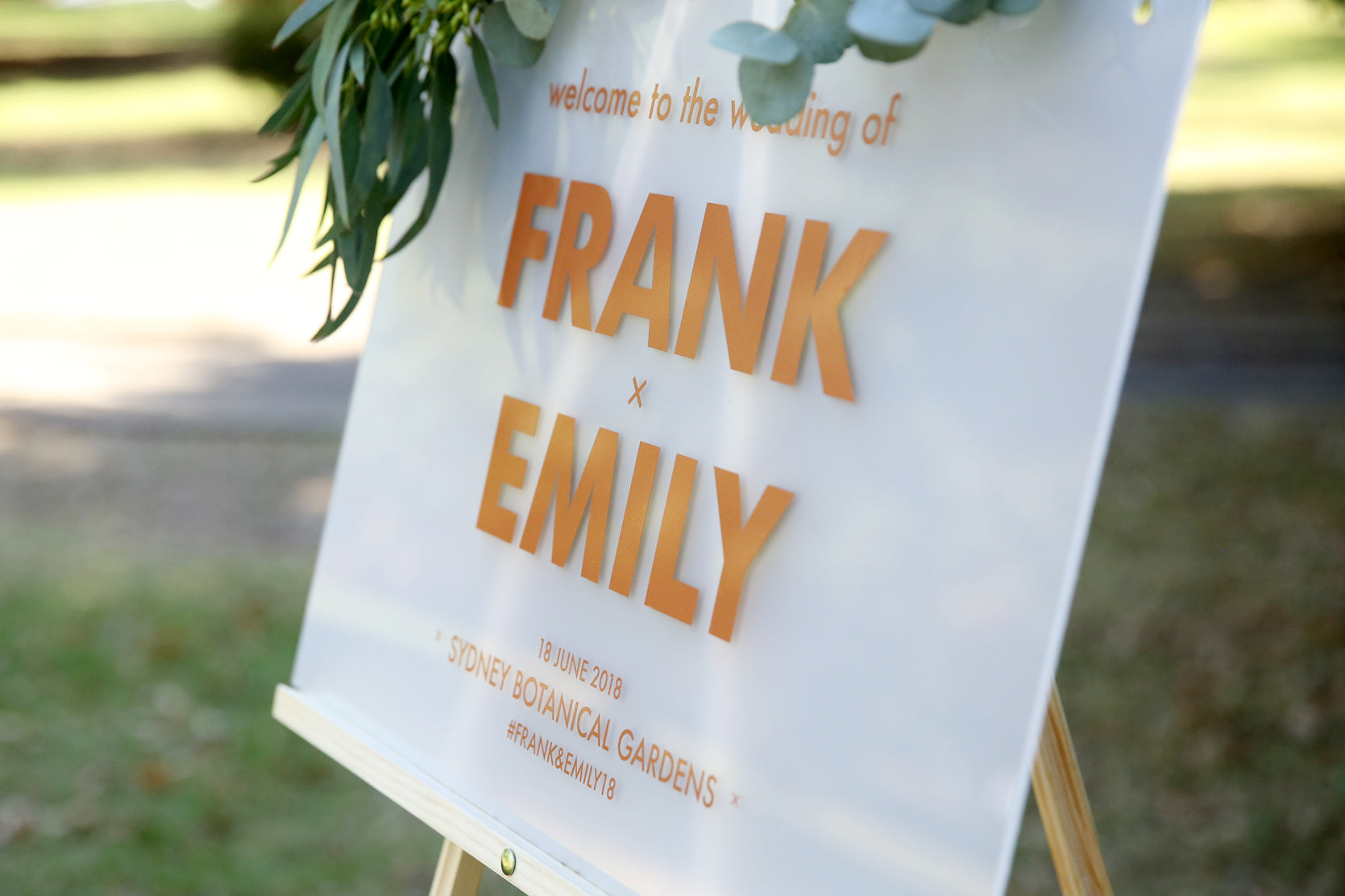 Custom welcome wedding sign, rose gold and frosted