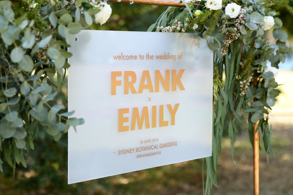 Statement welcome to our wedding sign, rose gold