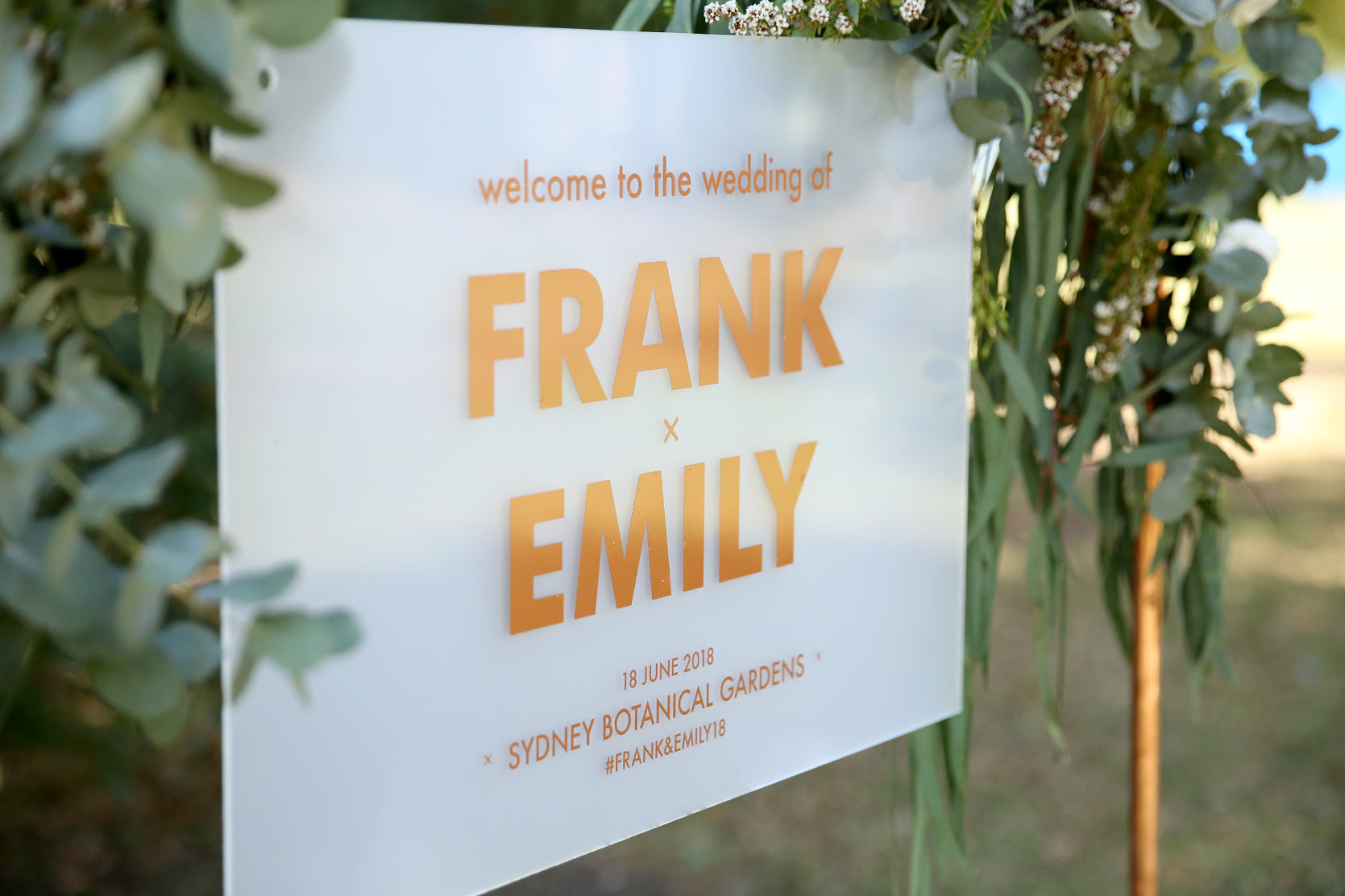 Personalised wedding sign, rose gold and frosted acrylic