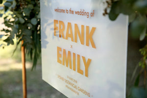 Wedding welcome sign, hanging on flower wall