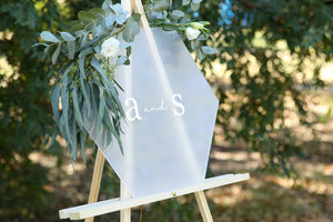 Timeless, classic wedding monogram sign on easel