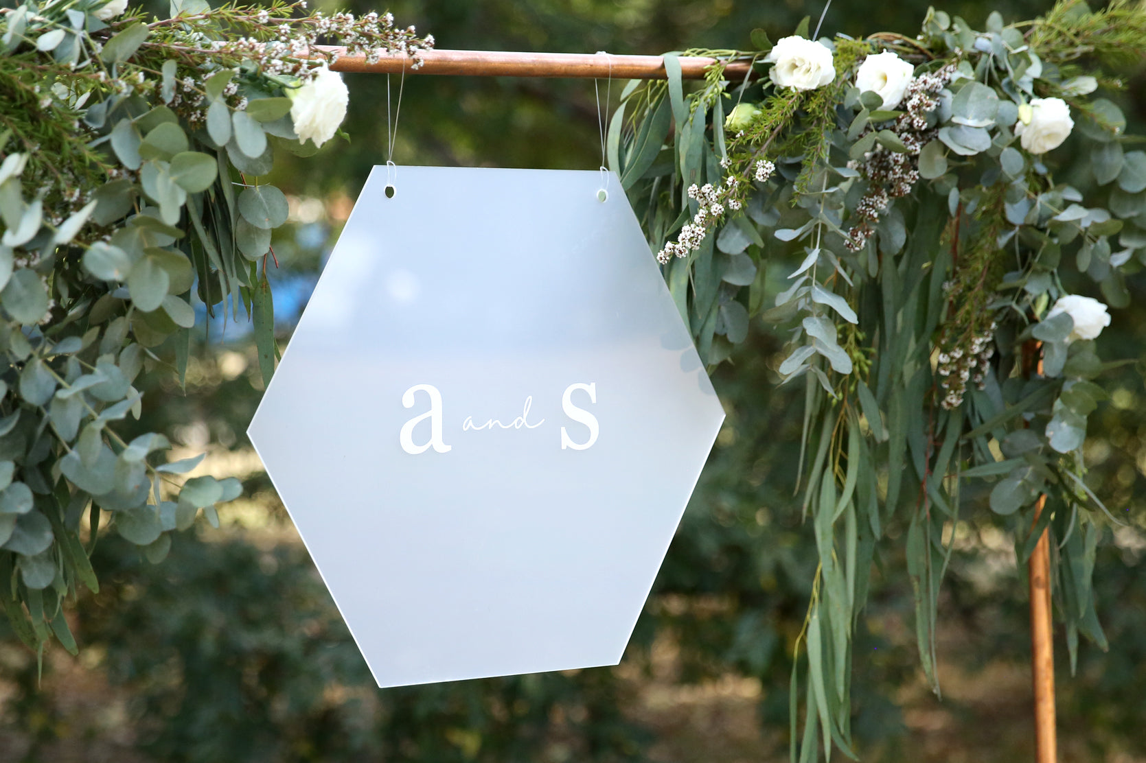 Hanging timeless initials wedding sign