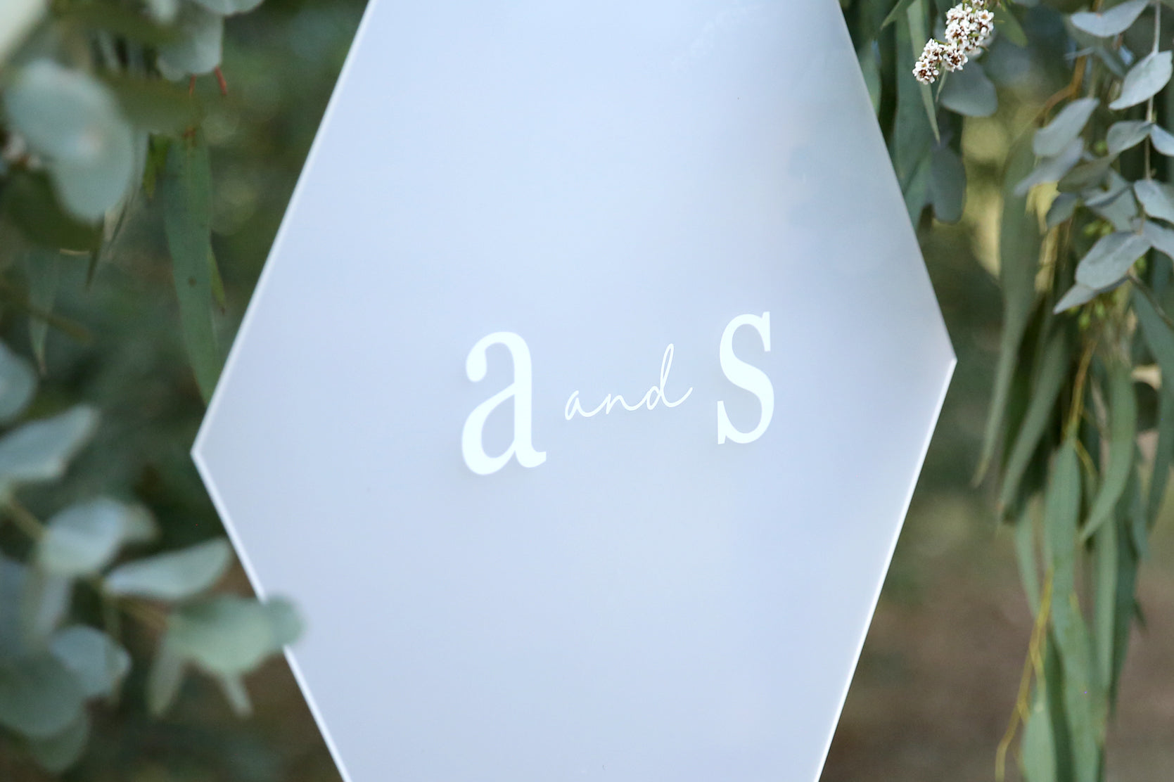 White on frosted classic wedding sign, hanging