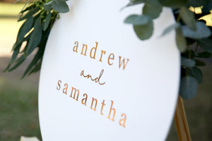 Wedding names sign - customise your sign
