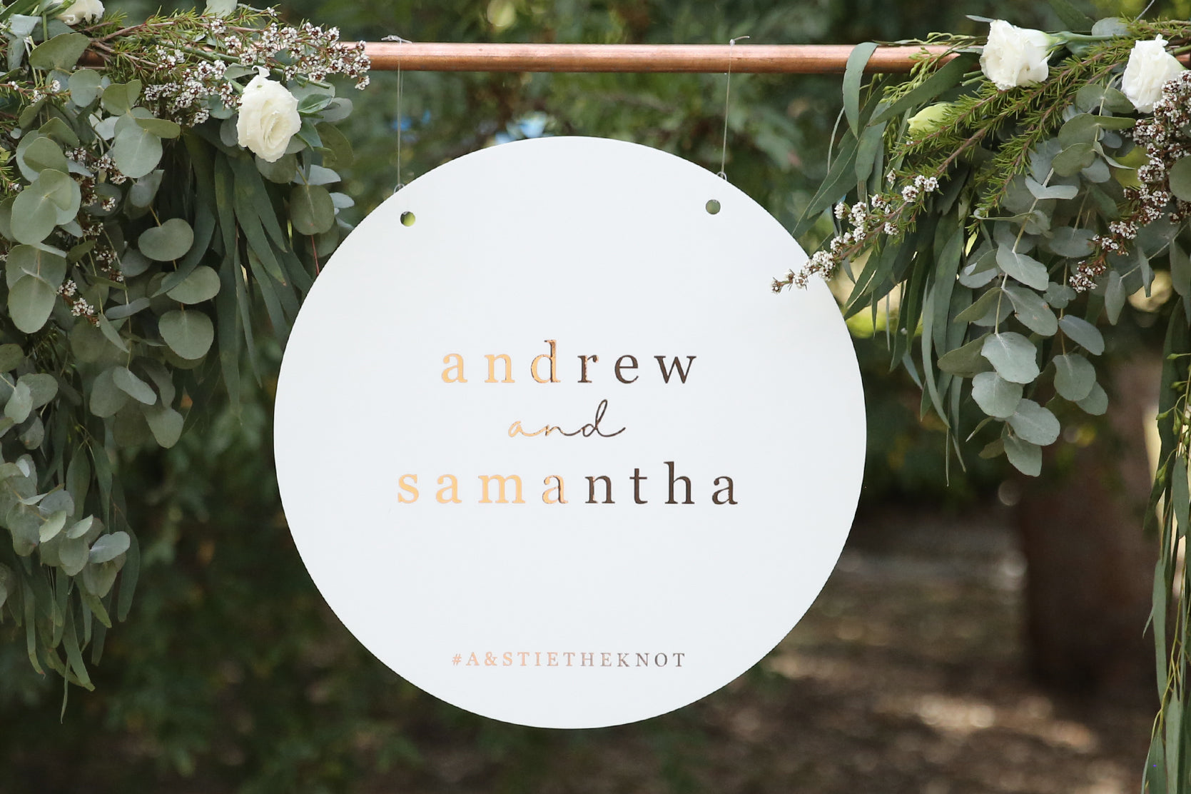 Rose gold and white timeless wedding sign, hanging