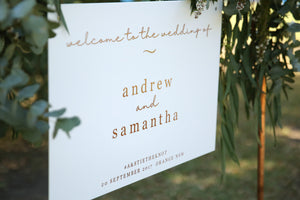 Classic wedding welcome sign, rose gold and white