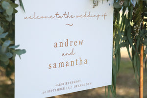 Timeless welcome wedding sign - white and rose gold