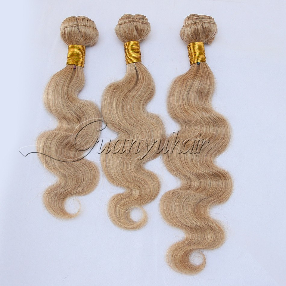 3/4 Bundles With Closure Guanyuhair #27 Honey Blonde Body Wave Malaysia Human Hair 3 Bundles With Frontal Closure 13x4 Ear To Ear