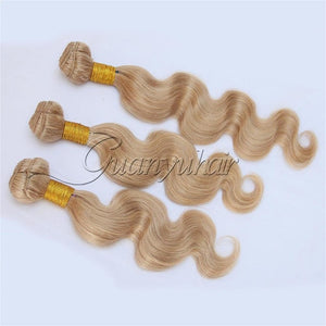 3/4 Bundles With Closure Human Hair Weaves Guanyuhair #27 Honey Blonde Body Wave Malaysia Human Hair 3 Bundles With Frontal Closure 13x4 Ear To Ear
