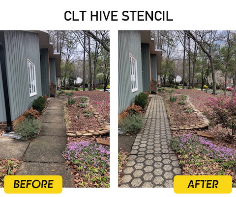 Before-after-clt-hive-driveway-art-stencil