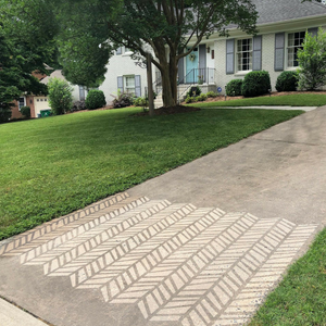 DIY Chevron Stencil by Driveway Art® is being showcased by owner Robin Tonelli