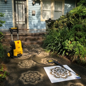 Woman holding the Mandala Stencil from Driveway Art®.