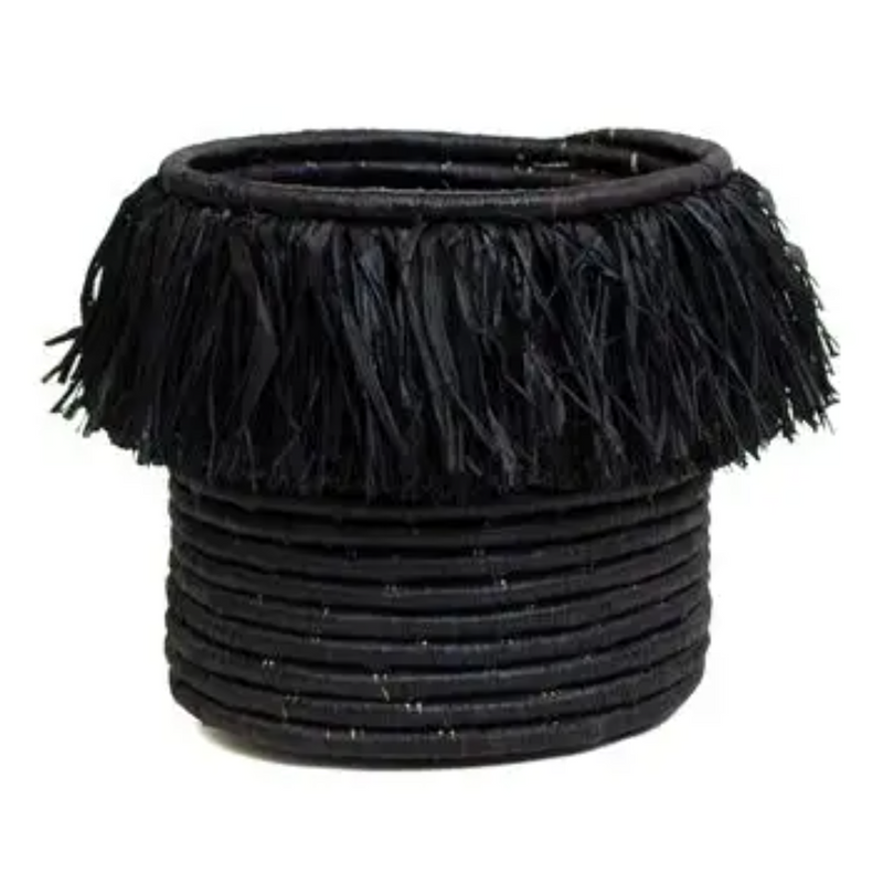 Black Fringed Catch All Basket - Magnolia Studio & Co