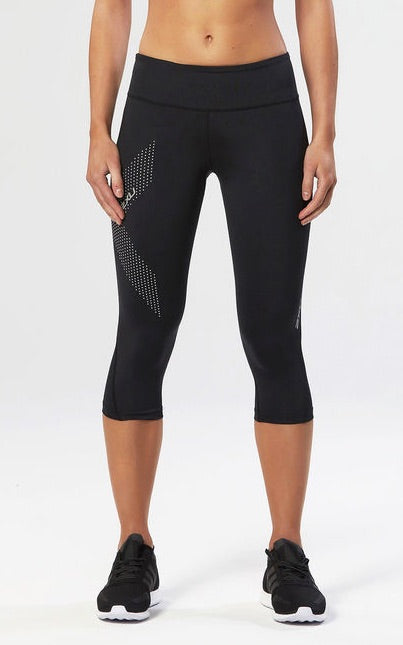 WOMEN'S MID-RISE COMPRESSION 3/4 TIGHT - Dotted Reflective