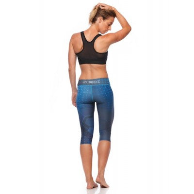 SIX30 Women's Blue Illusion 3/4 Compression Tights - www.runstopshop.com.au