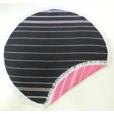SIX30 Reverse Round Turkish Towel - Black/Pink