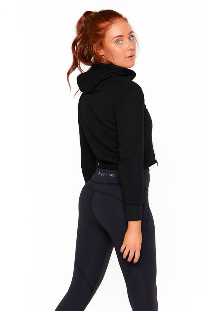 Gem Active Crop Hoodie - Black