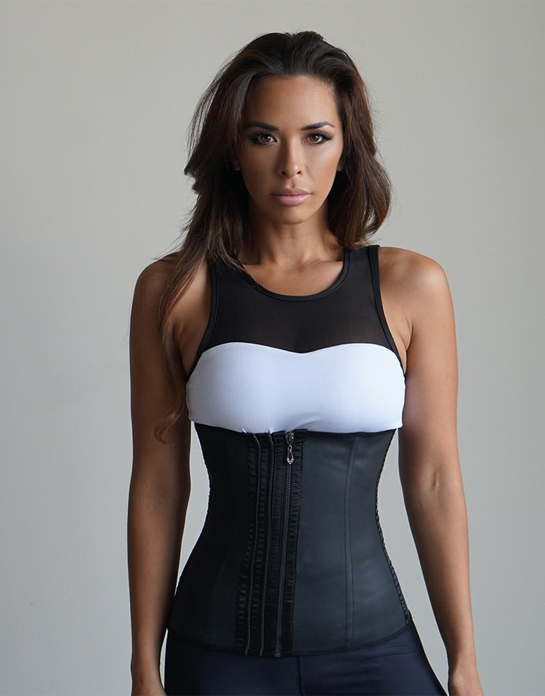 DELUXE TRIPLE ZIPPER LATEX WAIST TRAINER - BLACK