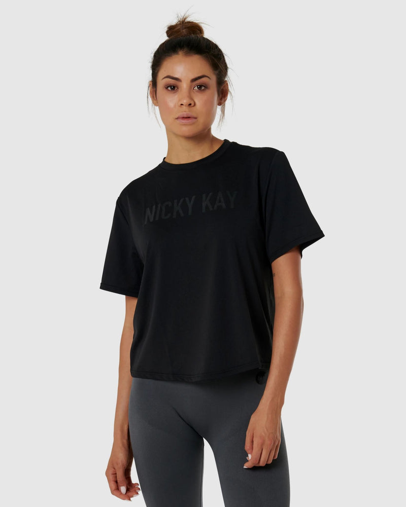 Nicky Kay Quickdry Logo Tee - Black